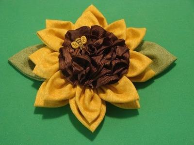 Como hacer Flores de cinta y tela programa 2 (Girasol). 2.5