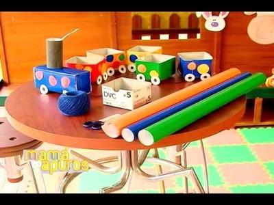 Juego para niños con tren de papel Mamá en apuros
