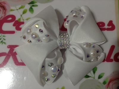 Moño blanco decorado con perlas y cristal VIDEO No. 463 creacionesrosaisela