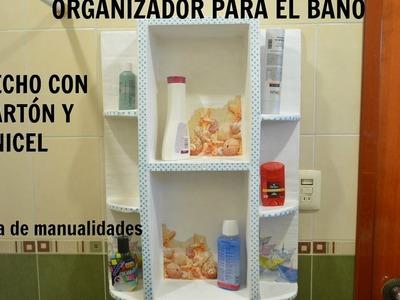 Organizador para el baño, hecho con cartón y unicel.