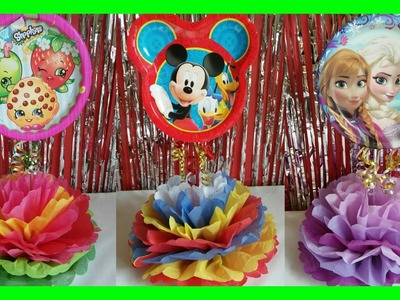 Centro de Mesas para fiesta de niños. Shopkins, Mickey Mouse, and Frozen DIY Party Centerpieces
