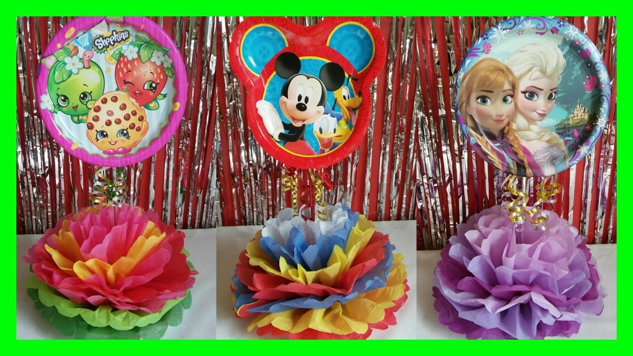 Centro de Mesas para fiesta de niños. Shopkins, Mickey Mouse, and Frozen DIY Party Centerpieces