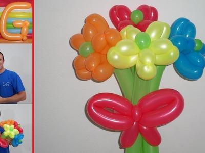 Como hacer flores con globos paso a paso - globoflexia facil - ramo de flores con globos largos