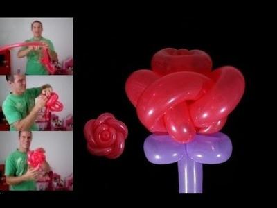 Como hacer rosas con globos largos - globoflexia rosa - como hacer rosa con globos