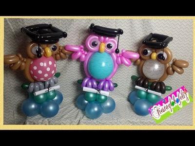 Como hacer un búho graduado con globos ---especial de graduaciónes