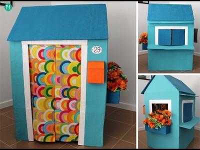 Cómo hacer una casita con una caja de cartón