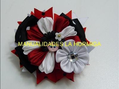 Como hacer una Flor con Liston,Tutorial Perfect ties with ribbon,  Hair pins