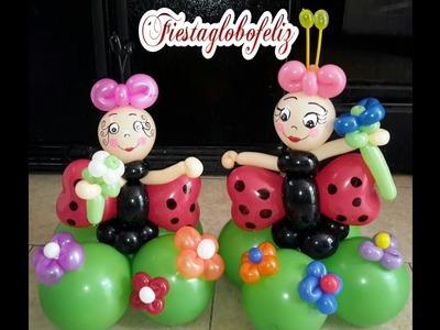 Como hacer una mariquita coqueta o lady bug con globos