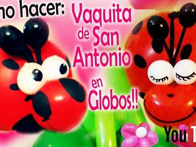 Como hacer una Vaquita de San antonio (mariquita) en globos!!! how to make ladybug on balloons