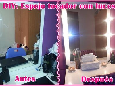 DIY: Espejo tocador con luces.  Vanity mirror with lights.