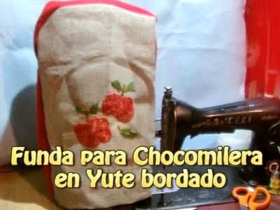 Funda para Chocomilera en Yute Bordado |Creaciones y manualidades angeles