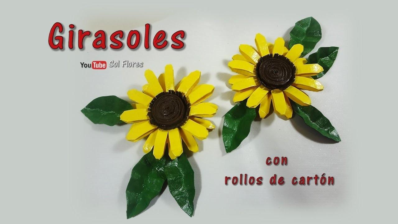 Girasoles con rollos de cartón - Sunflowers with cardboard rolls