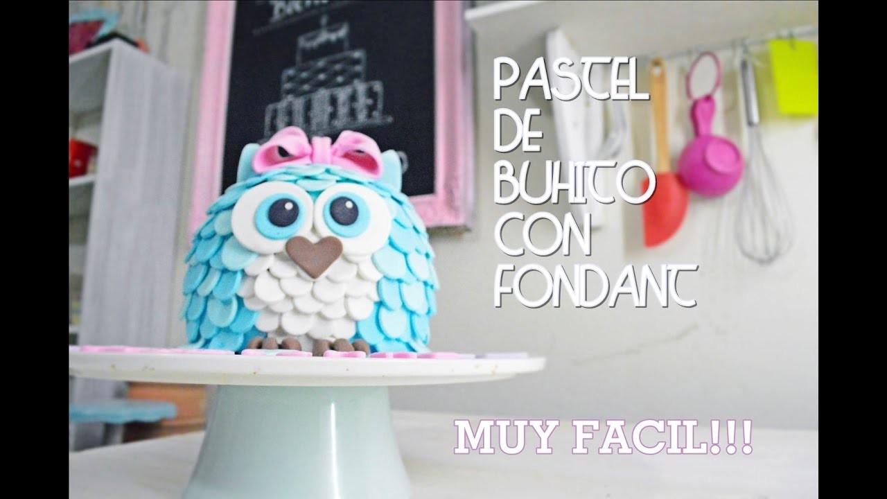 PASTEL EN FORMA DE  BUHO CON FONDANT- paso a paso