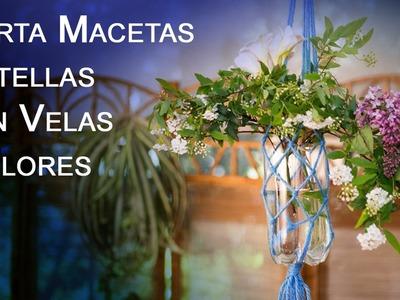 Porta Macetas, Botellas con Velas  y Flores