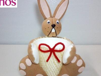 Cesta con Conejo para el día de Pascua