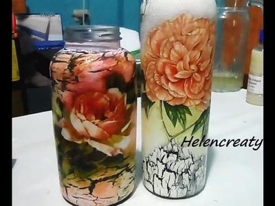 Decoupage y craquelado en plastico -Crackle and decoupage on plastic bottles por Helencreaty
