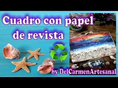 DIY: Decora tu espacio con un cuadro reciclando revistas by DelCarmenArtesanal