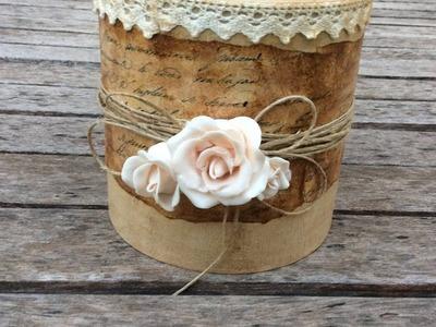 Jarrón vintage con rosas de porcelana fría - MYBA