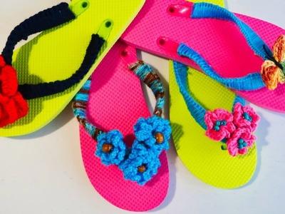 Sandalias de playa decoradas a crochet facil, paso a paso