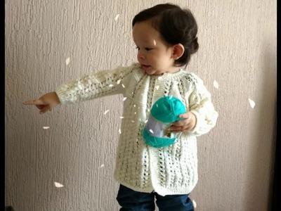 Sueter  para bebe tejida en dos agujas # 3.  Baby Sweater Woven on Two Needles # 3