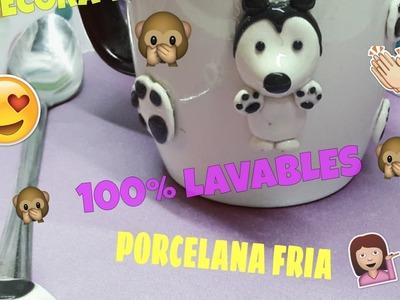 **TAZAS DECORADAS** DE PORCELANA FRIA** LAVABLES**