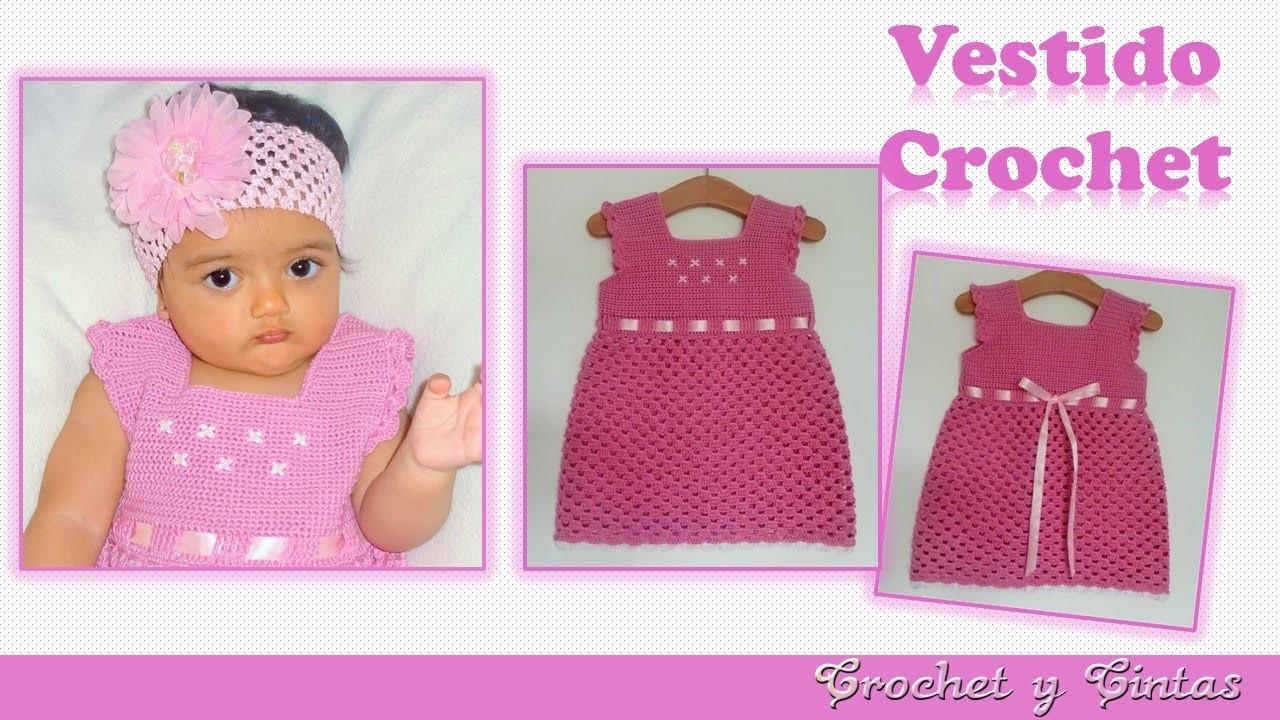 Vestido para niñas con detalles bordados a crochet (ganchillo)  ???? ???? Parte 2