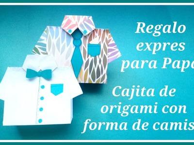 Caja ORIGAMI EXPRÉS con forma de camisa | Dos regalos en uno para PAPÁ