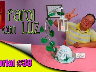 Centro de Mesa Farol con Vela Luz Electrónica Rosas Herreria Ideal cualquier evento Tutorial #38