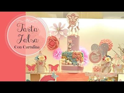Como hacer  TARTA FALSA solo con Cartulina, para Mesa dulce.postres.Candy Bar PASO A PASO