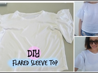 DIY blusa con mangas de volantes. DIY flared sleeve top