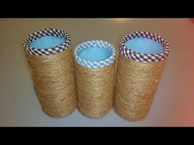 Hacemos un porta lápices con cartón y cuerda: Tutorial ( Español)