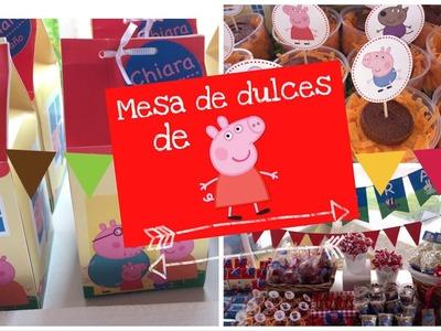 Mesa de dulces de peppa pig !!!!