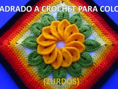 PARA ZURDOS Cuadrado o muestra a crochet con flor de 12 pétalos y hojas paso a paso para colchas