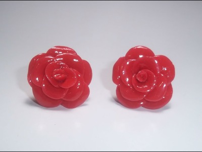Rosas - aretes de porcelana fría
