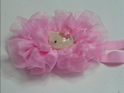 Tiaras en liston organza .Moños organza y Gros Tutorial,Tulle ties for hair