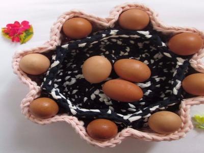 TUTORIAL Cesta Para Huevos tejida con TRAPILLO