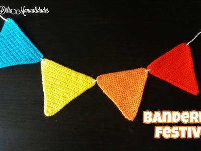 Banderines festivos  Guirnalda (garland) a crochet   punto bajo. muy facil.
