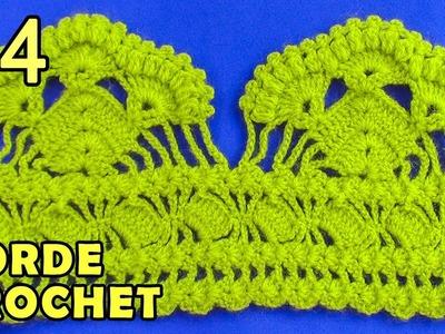 Borde #4 tejido a crochet, fácil de hacer en punto abanicos de garbanzos