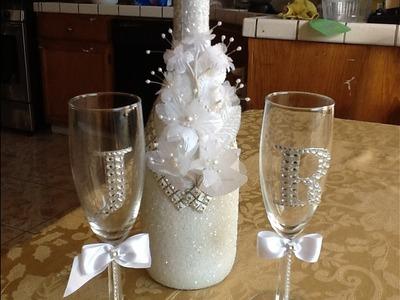 Botella y copas para bodas