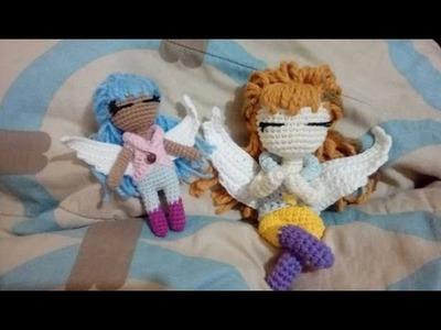 COMO HACER OJOS Y COLOCAR CABELLO FACIL ANGEL CROCHET AMIGURUMI 4.5
