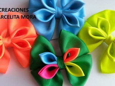 Como hacer un  Moño Sencillo.How To Make A Girl Hair Bow.Como fazer laço mil faces