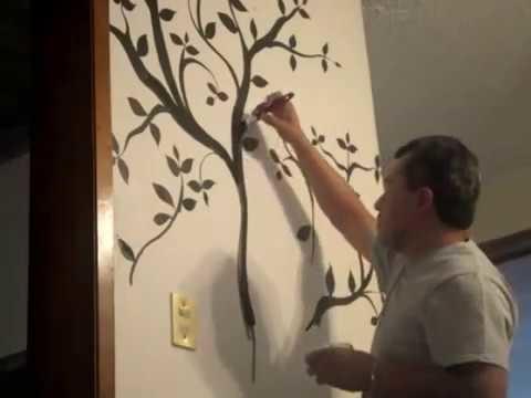 Como pintar un bonsai en la pared con pintura vinilica!!!
