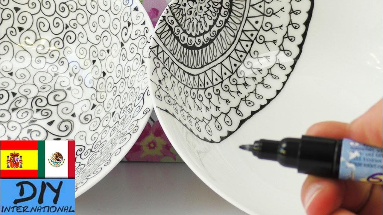 Decoración de platos de cerámica   Con marcador
