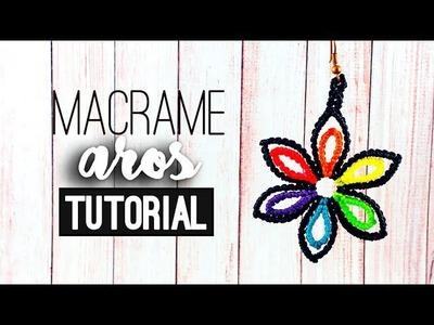 Flor multicolor en argolla » ???? tutorial | como hacer | diy ● Earrings #91