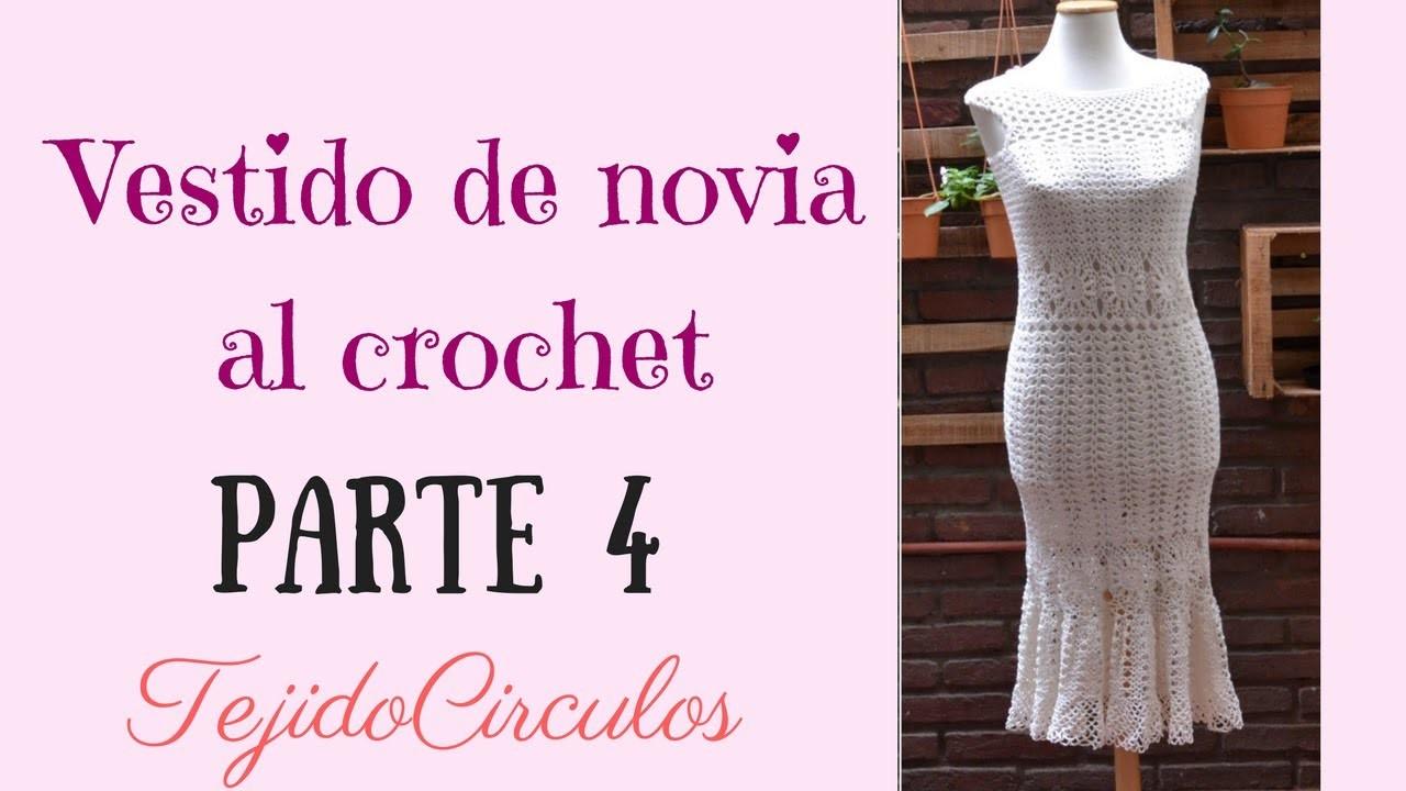 """Vestido de novia """"Sirena"""" tejido al crochet. Parte 4: rosetón. Tejidos Circulos"""