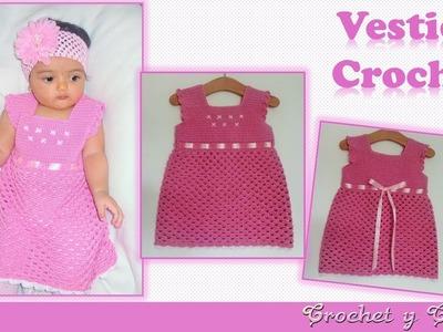 Vestido para niñas con detalles bordados a crochet ganchillo ???? ???? Parte 1