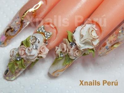 Acrylic nails 3d roses. Xnails Perú