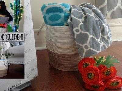 Como hacer una Cesta de cuerda sin coser. Room decor , manualidades faciles  y baratas