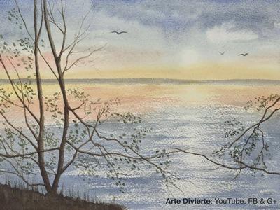 Cómo pintar un paisaje marítimo en acuarela, con reflejos y sol