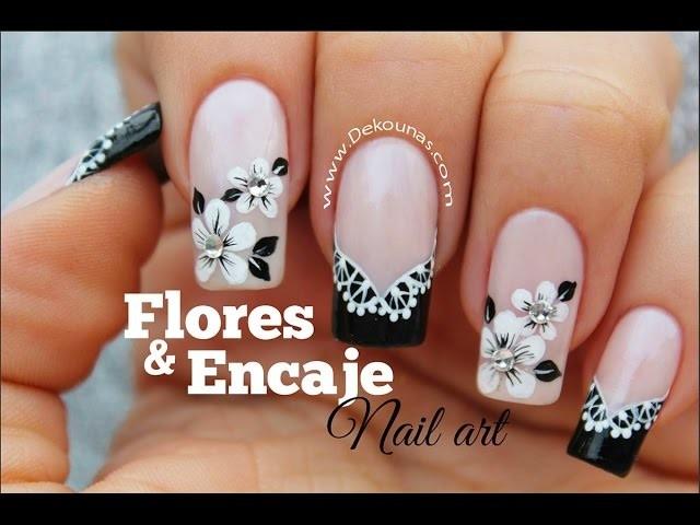Decoracion De Uñas Facil Flores Y Encaje Lace And Flowers